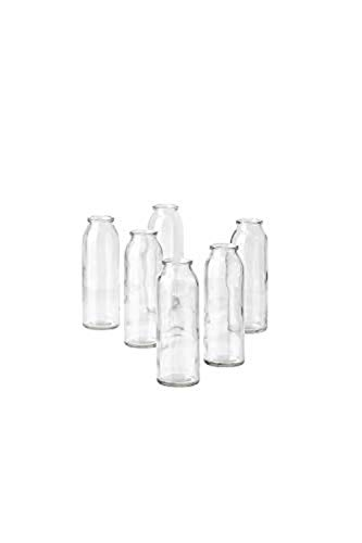 """Serene Spaces Living Set of 6 Clear Glass Bud Vases, Ideal for Tablescape at Weddings, Events, Parties, Floral Centerpieces, Measures 6.25"""" Tall and 2"""" Diameter"""