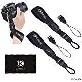 Handschlaufen für DSLR und Kompaktkameras - 2er-Pack - Extra stark und langlebig - Bequemes Neopren-Armband - Verstellbare Passform - Schnellverschluss Clip - Zusätzliche Haltebänder + Reinigungstuch