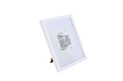Classic by Casa Chic - Quadratischer Bilderrahmen - Weiß - 30x30 cm - mit bruchfestem Sicherheitsglas - mit Passepartout für 20 x 20 cm Foto - Rahmenbreite 2cm