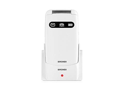 Brondi Amico Favoloso, Telefono cellulare GSM per anziani con tasti grandi, tasto SOS e funzione da remoto, dual SIM, volume alto, Bianco