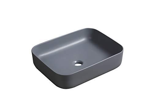 Waschbecken Aufsatzwaschbecken Waschtisch Oval Rund klein Schwarz Grau Beige Weiß hochwertige Keramik Lotus Effekt, Farbe: Rechteckig Grau