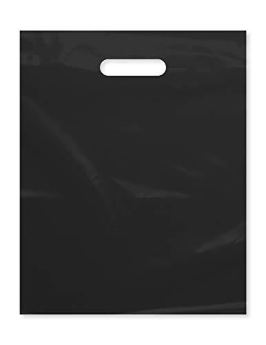 Bolsa de plástico con asa troquelada de 30,5 x 38,1 cm, bolsas de plástico negro para mercancías, 100 unidades para venta al por menor, regalos, ferias comerciales y más (30,5 x 38,1 cm)