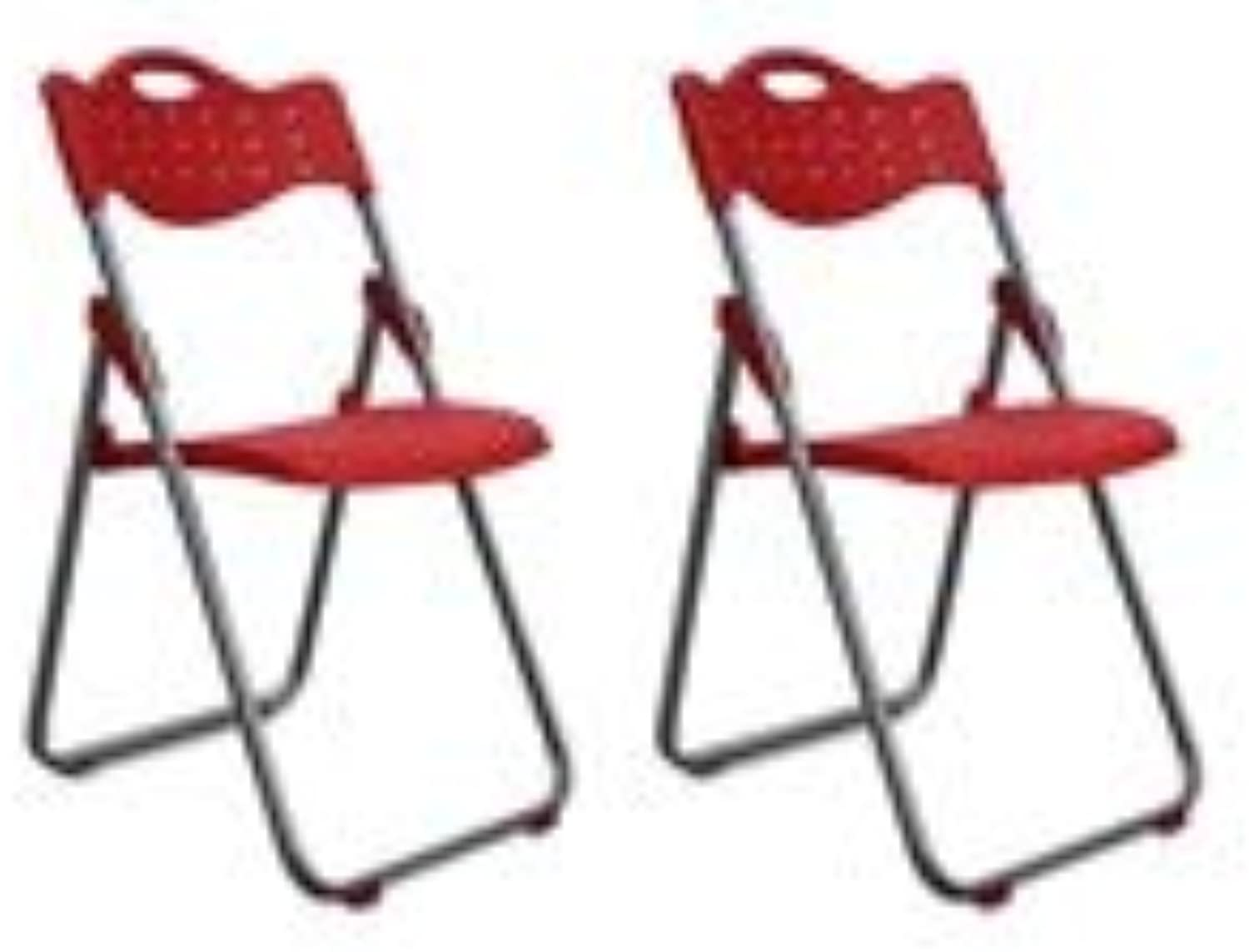 YCSD Pack of 2 -Plastic Multi-Purpose Folding Chair,Household Dining Chair Office Chair Training Chair Camping (color   RED)