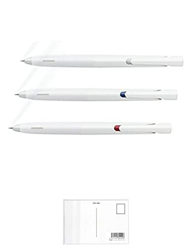 ゼブラ ブレン エマルジョンボールペン 0.5mm 白軸 BAS88【黒・青・赤 3色セット】+ 画材屋ドットコム ポストカードA