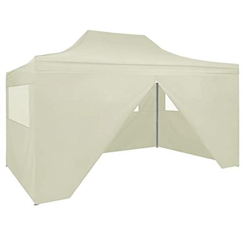 vidaXL Tente de Réception Pliable avec 4 Parois Tonnelle d'Extérieur Chapiteau de Jardin Belvédère Voyage de Camping Barbecue Mariage 3x4 m Acier Crème