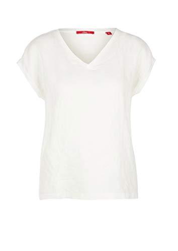 s.Oliver Damen Besticktes Shirt mit Leinenfront Offwhite Embroidery 36