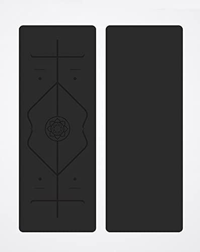Estera deportiva estera de yoga antideslizante material ecológico estera de yoga estera de yoga de goma con bolsa y estera de cuerda para gimnasia de yoga-183x68x0.5 0cm (negro)