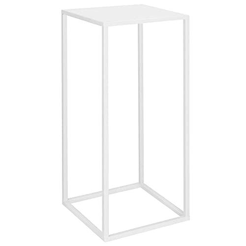 SPRINGOS Soporte de metal para plantas de interior, soporte para flores y columnas para plantas, diseño cuadrado, columna decorativa (blanco, altura: 40 cm)