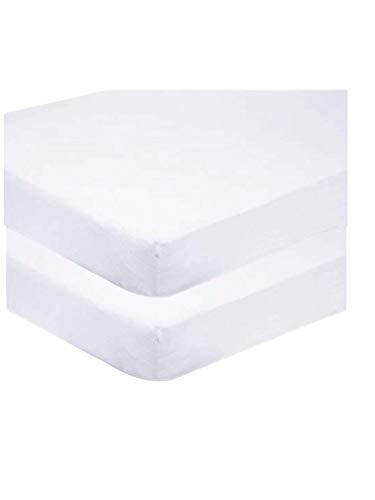 Sasma Home - 2 sábanas bajeras para Cuna 100% algodón Muy Suave (70 x 140 cm) (Blanco)
