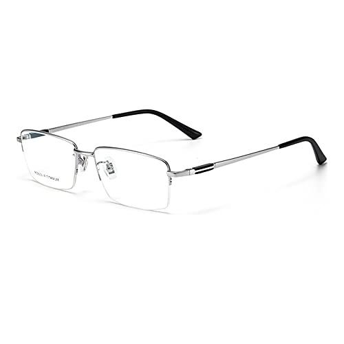 HQMGLASSES Gafas de Lectura de Negocios de Titanio Puro Anti-luz Azul para Hombres, Lentes de Resina multifocales progresivas para computadora, dioptrías de +1.0 a +3.0,Plata,+2.0