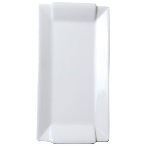 CHRYE-Assiettes Plaques binauraux Porcelaine, Plaque Blanche Dessert, Simple et élégant, Four Micro-Ondes, Home Essential Arts de la Table, rectangulaire, Multi-Taille en Option