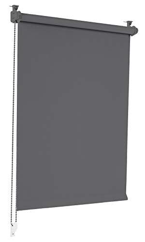 Sonello Verdunkelungsrollo Klemmfix ohne Bohren 100cm x 210cm Grau Verdunklungsrollo Fensterrollo Rollo Seitenzugrollo Klemmrollo für Fenster & Tür