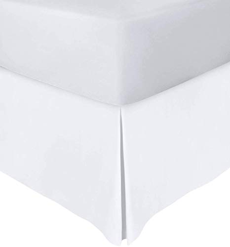 Utopia Bedding Base Valance Sheet - Easy Care Soft Brushed Microfibre Fabric - Pleated - Fits Under the Mattress & Down to the Floor - Bed Base Skirt (King, White)
