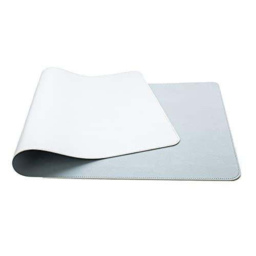Schreibtischunterlage - Rutschfeste Büro-Schreibtischunterlage, 60 x 120 cm PU-Leder Schreibtisch beidseitig Ultra Soft Wasserdichtes Mauspad Schreibunterlage für Büro/Haus (Silber+Blau)