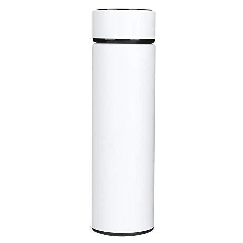 HERCHR Botella de Agua, Termo de Acero Inoxidable con Taza de vacío, Termo Aislado con Pantalla LED Inteligente de Temperatura.(Blanco)