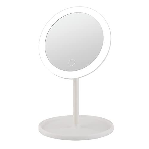 ZXD Espejo de Maquillaje Europeo con luz LED, Espejo de Maquillaje Plegable de Escritorio con luz de Relleno, Espejo de tocador de Escritorio, Espejo de Estudiante,Blanco,Single Beam