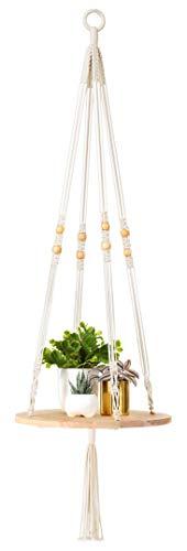 Mkono Macrame Plant Hangers Indoor Hanging Planter Shelf Decorative Flower Pot Holder Boho Bohemian Home Decor, 45