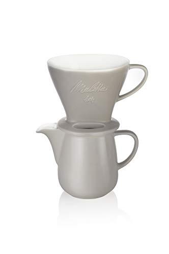 Melitta 6768456 Pour Over Set grau (Kaffeefilter 1x4 + Porzellan Kaffeekanne 0,6 l) Classic Edition