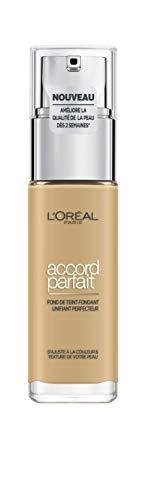 L'Oréal Paris - Fond de Teint Fluide Accord Parfait - Peaux Sèches à Normales - Teinte : Naturel Doré (4.D) - 30 ml