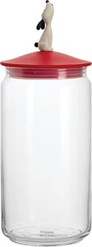 Alessi AMMI21 R LulàJar - Contenitore in vetro per cibo per cani, con coperchio in resina termoplastica, colore: Rosso