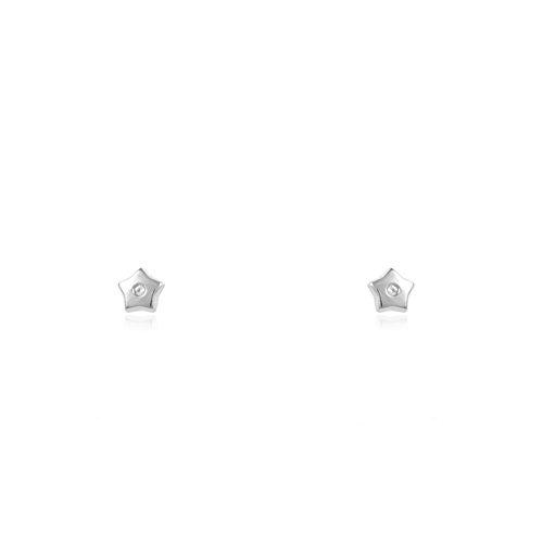 Pendientes Bebe Oro Blanco Estrella circon 5 puntas