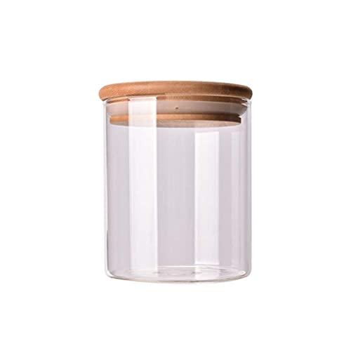 Recipientes de Vidrio para frascos de Almacenamiento, 6 oz 3 recipientes de Almacenamiento de Alimentos más Altos con Tapa de bambú para Dulces, Galletas, arroz, azúcar, harina, Pasta, nueces Xq