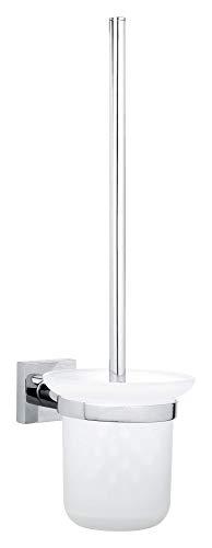 Tesa hukk Toilettenbürstenhalter (verchromt, inkl. Klebelösung, hohe Haltekraft (bis 6kg), 390mm x 115mm x 165mm)
