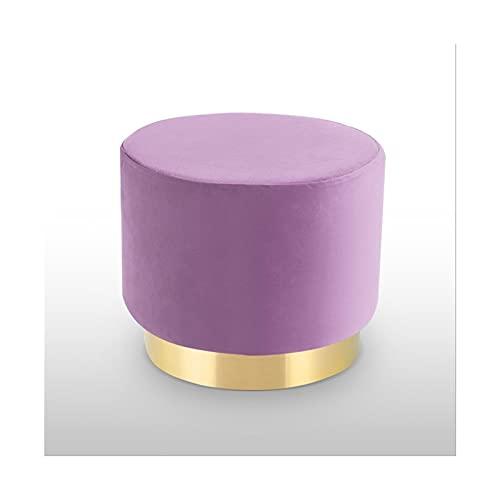 Reposapiés Taburete StepSool Velvet Ottoman Vestido Taburete Golden Metal Edging Tapizado Pooncero Silla de maquillaje para dormitorio Sala de estar Reposapiés Taburete con alto ( Color : Purple )