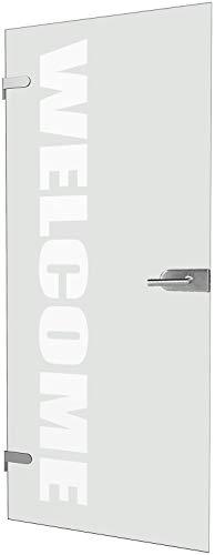 inova Glastür mit Wunsch-Schriftzug satiniert weiß Komplettset polierte Glaskanten Beschlag 834 x 1972 x 8 mm Drehtür