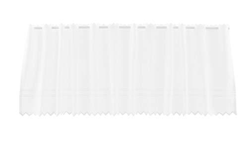 Rideaux brise-bise Bandes de broderie broderie anglaise 36 cm de haut | La largeur est réglable en fonction du nombre de pièces en pas de 21 cm. | Couleur: Blanc