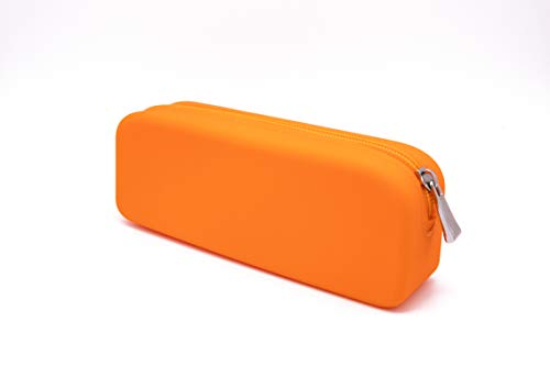 GORGCASE Silicone Pen Pencil Make up Bag with Zipper, Water Leak Resistant,Toiletry Makeup case Holder, Essentials Cosmetic Pouch Organizer kit for Personal Item,School, Gift, Student Orange