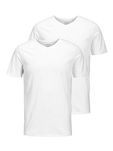 Jack & Jones Jacbasic V-Neck tee SS 2 Pack Camiseta, Blanco (White White), Medium (Pack de 2) para Hombre