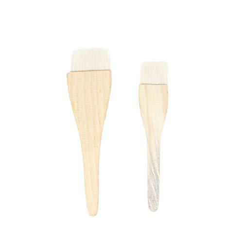 Qazxsw 2PCS Wool Brush Wood Handle Brush Baking Brush for Cake Dessert Cookies BBQ (1pc Small Size+1pc Large Size)