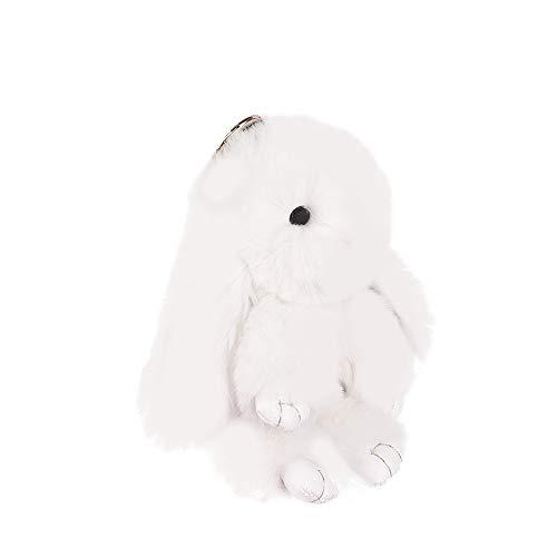 Hase Schlüsselanhänger, MOPOIN Plüsch Kaninchen Schlüsselanhänger Fluffy Osterhase Plüsch Tasche Anhänger Tier Zubehör Geschenke Halter Keychain Frauen Mädchen Auto Tasche, Weiß