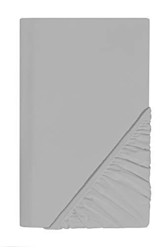 SCHLAFWOHL SILVER Spannbettlaken 100x200cm Öko-Tex Standard 100 Zertifiziert • Spannbetttuch mit Anti-Rutsch Rundumgummi • Bettlaken Baumwolle mit 30cm Steg • Farbe: Silber