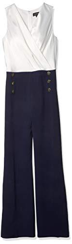 Tahari ASL Women's Sleeveless V-Neck Bow Top Nautical Jumpsuit, Navy Ivory, 6
