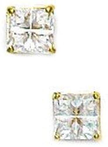 Or jaune 14 voitureats 4 mm x 4–zircone voitureré 4 SegHommest bijouxWeb Boucles d'- Panier Oreilles