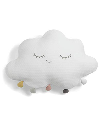Mamas & Papas White Cloud Cushion with Pompom, Soft and Playful, Ideal for a Comfy Nursery - White Cloud Design