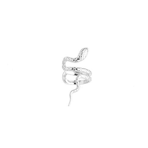 Pendientes de Oreja de Plata de Ley 925 auténtica de Color Dorado y Plateado para Mujer Pendiente con Clip de Oreja de Serpiente sin Piercing en Forma de joyería 2, Oreja Izquierda