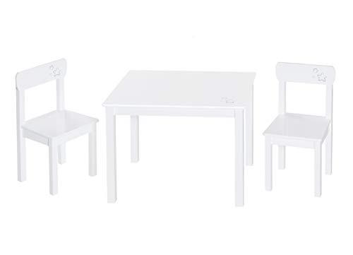 roba Kinder Sitzgruppe 'Little Stars', Kindermöbel Set aus 2 Kinderstühlen & 1 Tisch, Sitzgarnitur Holz, weiß lackiert, mit Sternen