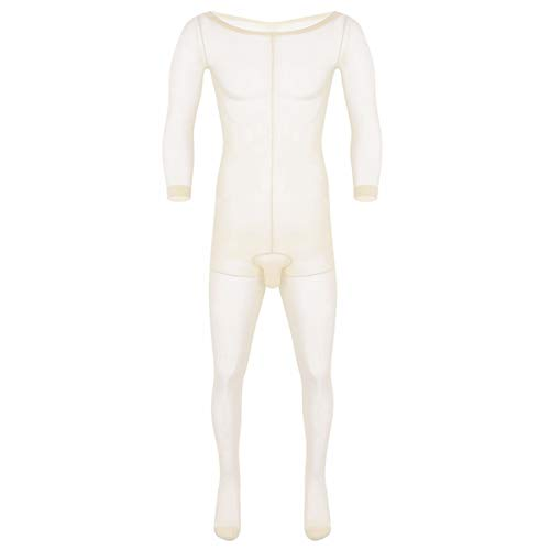Agoky Herren Ganzkörperanzug transparente Overall Jumpsuit Skinny Unterwäsche Stretchy Stocking mit Penishülle Ultradünne Strumpfhose Dessous Nude One Size