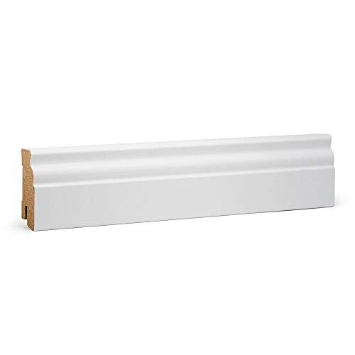 KGM Hamburger Sockelleiste weiß 60mm | Altberliner Leisten weiß für pvc Laminat und Parkett ✓Clip Leiste ✓Kabelkanal | mdf Fußleisten weiss 19x60mm zur unsichtbaren Montage | Sockelleisten 2.5m