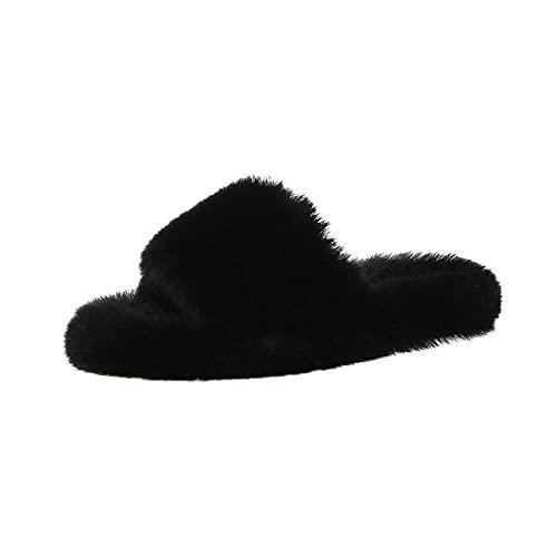 Cxypeng Pantuflas Térmicos de Invierno Suave,Nuevas Pantuflas peludas de Suela Gruesa de Color Caramelo con Zapatos caseros de algodón Perezosos-Black_40,Slippers Unisex-Adulto