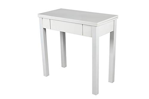 Noorsk Design Mesa Libro Extensible de Cocina en Blanco. 80x40/80 cm. Modelo Ronda. (Blanco)