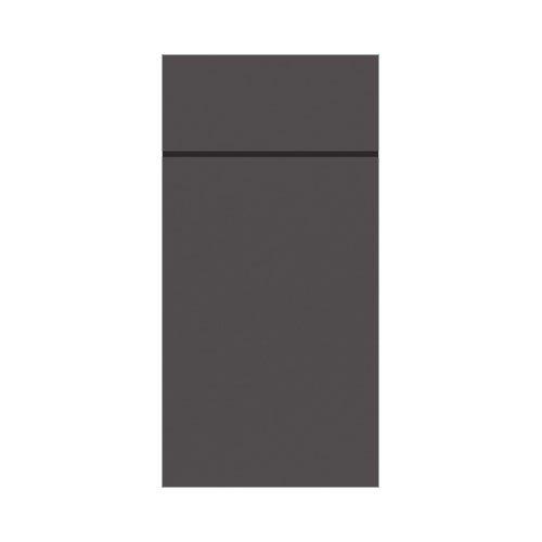 Duni Slim Vorgefaltete Servietten und Kulturtasche, Papier, Granitgrau, 65 Stück