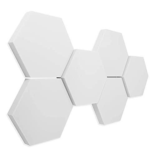 platino24 Schallabsorber 3D-Set Hexagon aus Basotect G+, 6 Elemente 4x je 300x30mm + 2x 300x50mm, Wandpaneele zur Schalldämmung
