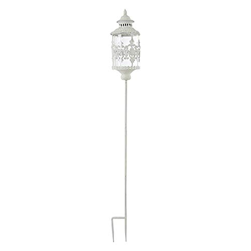 Affari Chantal lantaarn windlicht glas ijzer antiek wit shabby tuin decoratie Ø15xH130 cm