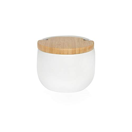 KOOK TIME Salero de Cocina de Cerámica con tapa de madera de Bambú Basculante, 13 cm dia. 10.5 cm Al, Color Blanco