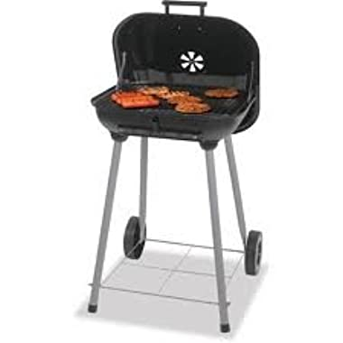 1 X Charcoal Grill, Backyard Grill 17.5 , Grills up to 15 Burgers. Porcelain enamel cooking grid. With 2 plastic wheels for easy transport. Dimensions: 18.31 L x 5.22 W x 18.5 H