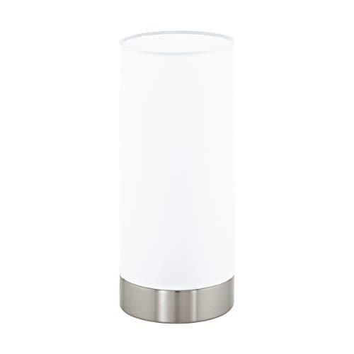 EGLO Tischlampe Damasco 1, 1 flammige Tischleuchte, Nachttischlampe aus Stahl, Farbe: nickel matt, Glas: satiniert, weiß, Fassung: E27, inkl. Schalter
